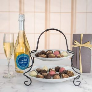 Image of wine and chocolate sympathy gift.