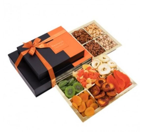 Image of dried fruit and nut gift tower.