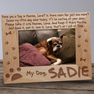 Image of pet memorial picture frame.