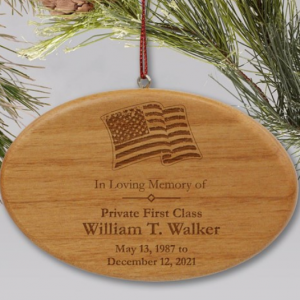 Image of oval memorial ornament.